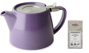 PURPLE FORLIFE 18oz (530ml / 2 CUP) STUMP TEAPOT WITH INFUSER FOR LOOSE LEAF TEA