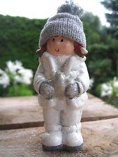 """Süßes Winterkind """"Lina"""" Weihnachten Deko Figur weiß grau Schnee Glitter Advent"""