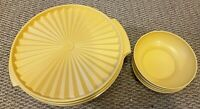 VINTAGE YELLOW Tupperware PLEATED LG BOWL & COVER  & 5 BOWLS - Set of 7 PIECES