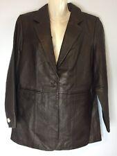 DENIM & CO.  Women's Dark Brown 100% Leather Blazer Jacket Size Medium M NWT