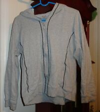 XL Ladies Womens NYL New York Laundry Coat Jacket Gray Blue Trim Zip Hood LS