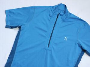 Haglofs 1/2 Zip Outdoors Mock Tee T shirt men Short Sleeve top size L Large blue