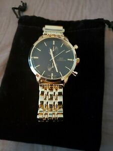 NY LONDON Men's Watch with Gold Tone and Black Dial