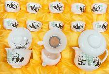 Chinese Kong Fu Cha 16 pc set Tea Set in Panda Graphic Design