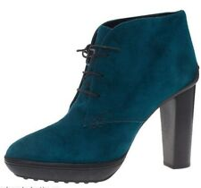 NWT Tod's Suede Ankle Lace-Up Boots, Deep Jade (Teal) Size 9.5