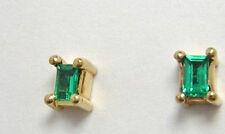 Colombian Emerald Stud Earrings .25 Cts 18K Fine Deep Green Emerald Cut Muzo Min