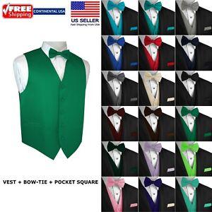 Men's Solid Satin Tuxedo Vest, Bow-Tie and Hankie. Formal, Dress, Wedding, Prom