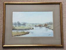 Excellent large original signed watercolour by M Parker 'A Meandering River'