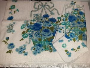 Vtg Fieldcrest Blue Basket Floral 5pc 1 Bath Towel 2 Hand Towel 2 Washcloth NEW