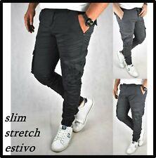 Pantaloni cargo da uomo slim fit estivi con tasche laterali tasconi cotone neri