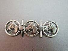 Vintage Sterling Silver Horse Head Brooch Detailed 10 Grams Equestrian Triple