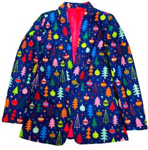 Women's Blue Christmas Holiday Suit Blazer Jacket Large 12-14 Light Up NEW