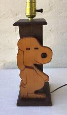 Vintage Snoopy Wood Folk Art Table Lamp
