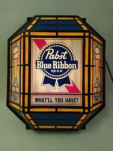 Vintage 1986 Pabst What'll You Have Lighted Bar Sign Light 1.5' Tall Embosograph
