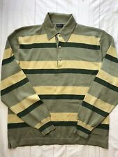 Como Sport Golf Merino Wool Collared Sweater Italy Green Stripe