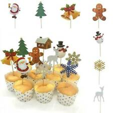 10Pcs Christmas Cupcake Toppers Baby Shower Food Picks Party Cake Decoration