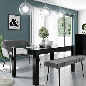 Vivienne Black Extendable Dining Table with 1 Grey Velvet Dining Bench and 1 Gre