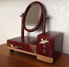 Origami Crane Kyodai Vanity Red Lacquerware Jewelry Box Geisha Maiko Vintage
