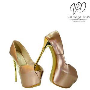 LGBTQ Drag Queen Unisex Ultra High Heels Shoes Iridescent Pink Size 9 Uk
