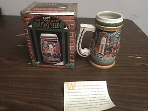 1997 Budweiser Christmas Beer Mug Stein Home for the Holidays New In Box CS313
