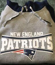 New England Patriots XL Hoodie Sweatshirt Grey W/ Blue Sleeves • Runs Large