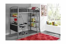Dhp Studio Loft Bunk Bed Over Desk Twin Size Bookcase Metal Frame Gray New