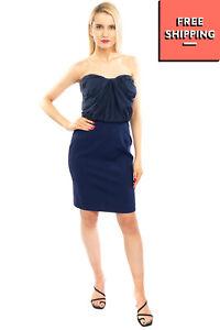 I BLUES Skirt Dress Size 44 M-L Silk Blend Pleated Contrast Sweetheart Neckline