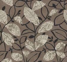 Wallpaper Designer Modern Art Deco Style Gray Leaves Leaf Black Vines on Taupe