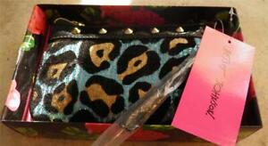 Handbag-Wristlet-Betsey Johnson NIB $58 Black Blue Brown Gold Zips Makeup Clutch