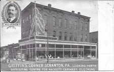 Griffin's Corner [Clothing], Scranton PA handsome vintage postcard used in 1907