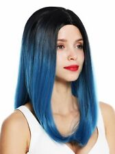 Wig Women's Wig Long Smooth Middle Part Ombre Black Blue