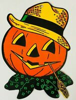 TRUE VTG 50s Halloween Beistle JOL Embossed Pumpkin Hat Decoration Die Cut Old