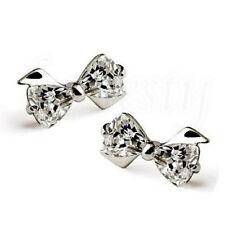 1pair Fashion Lovely Lady 925 Sterling Silver Rhinestone Crown Ear Stud Earrings Bowknot