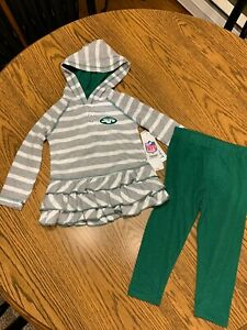 New York Jets NFL Toddler Girls Two-Piece Jersey Hoodie & Pant Set 2T NWT