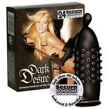 24 x Black Cylindrically Shaped & Knobbed Ribbed Condoms Dark Desire - SECURA