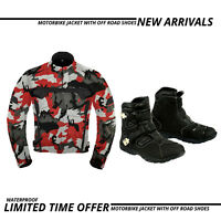 Mens Motorbike Jacket Waterproof Motorcycle Leather Armoured Boot Touring Shoes