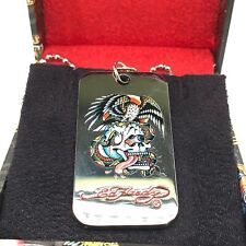 """Authentic Ed Hardy Battle Dog Tag Stainless Steel Necklace 26"""""""