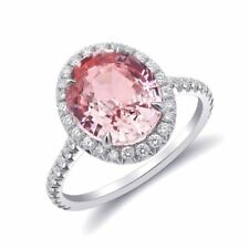 Natural Heated Padparadscha Sapphire 4.22 carats set in Platinum Ring