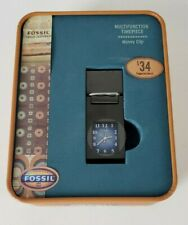 Vintage Fossil 2003 Multifunction Timepiece Money Clip New w/ TIN