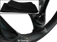 FOR HOLDEN JACKAROO 91-02 REAL BLACK LEATHER STEERING WHEEL COVER GREY STITCHG