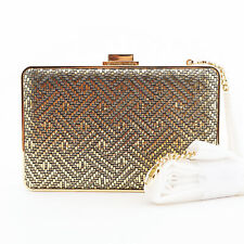 Michael Kors Pearl Medium Leather Box Clutch Handbag / Purse $178, Gold