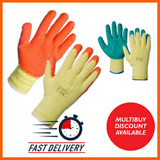 1-120 PAIRS LATEX COATED BUILDERS SAFETY GRIP WORK GLOVES MENS RUBBER GARDENING