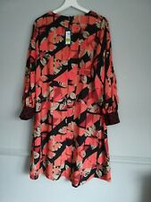 M&S Bnwt Orange Navy Patterned Smock Dress Size 12