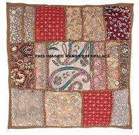 Grand Indien Patchwork Sari Ethnique Vintage Brodé Superbe Coussin Housse
