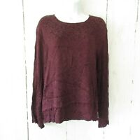 CP Shades Top L Large Purple Embroidered Pullover Long Sleeve