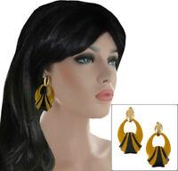 Large Chunky Doorknocker Pierced Earrings Yellow Black Enamel Gold Tone