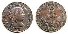 ESPAÑA-Isabel II. 5 Centimo de Escudo. 1868. Barcelona. MBC+/VF+. Cobre. 12,4 g.
