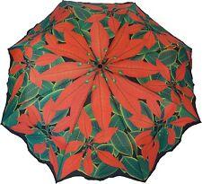 Artbrollies Red Poinsettia Manual Open Close Folding Umbrella Compact Floral Art