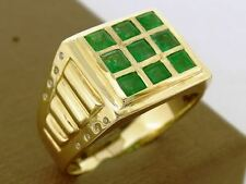 s MR18 Superb Mens Genuine 9K Yellow GOLD NATURAL Emerald Diamond Ring size Z+1