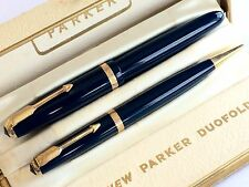 Fantastic Boxed Vintage Parker Duofold Gold Nib Fountain Pen & Pencil Set: Blue